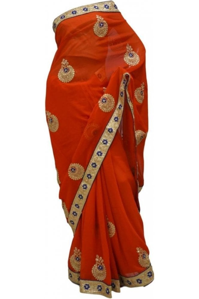 Fancy Red and Blue Georgette Party Saree