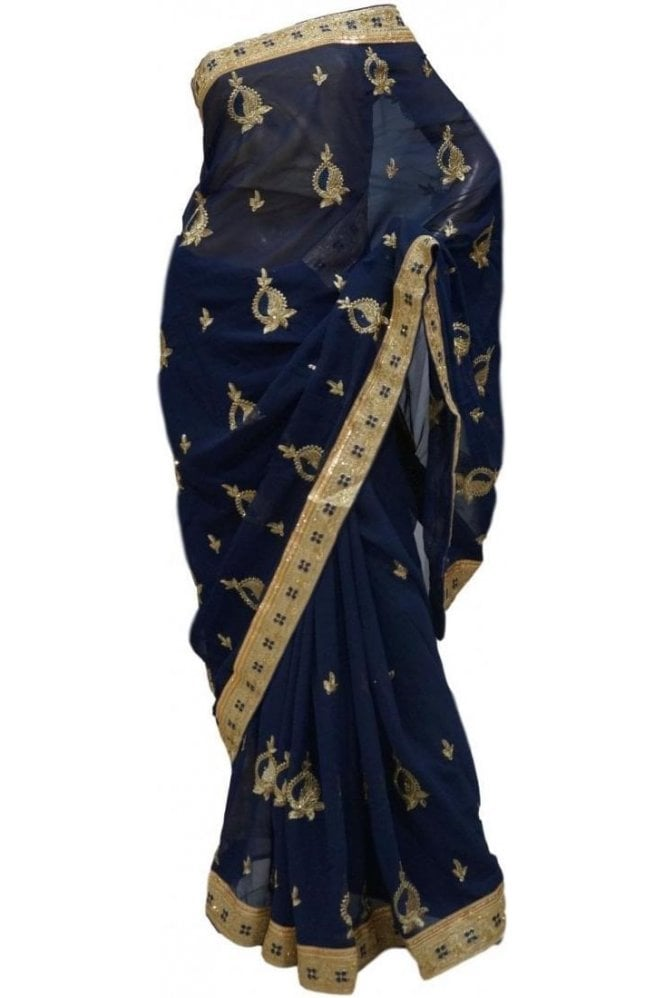 Gorgeous  Gold and Navy Blue Georgette Party Saree