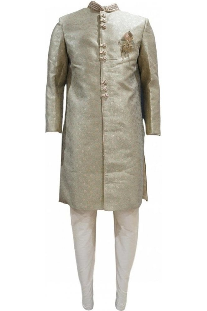 MTS20303 Green and Gold Men's Sherwani Suit
