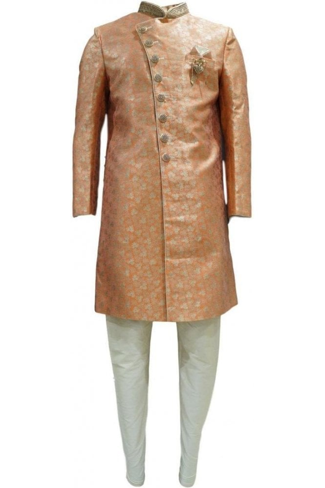 MTS20305 Orange and Gold Men's Sherwani Suit
