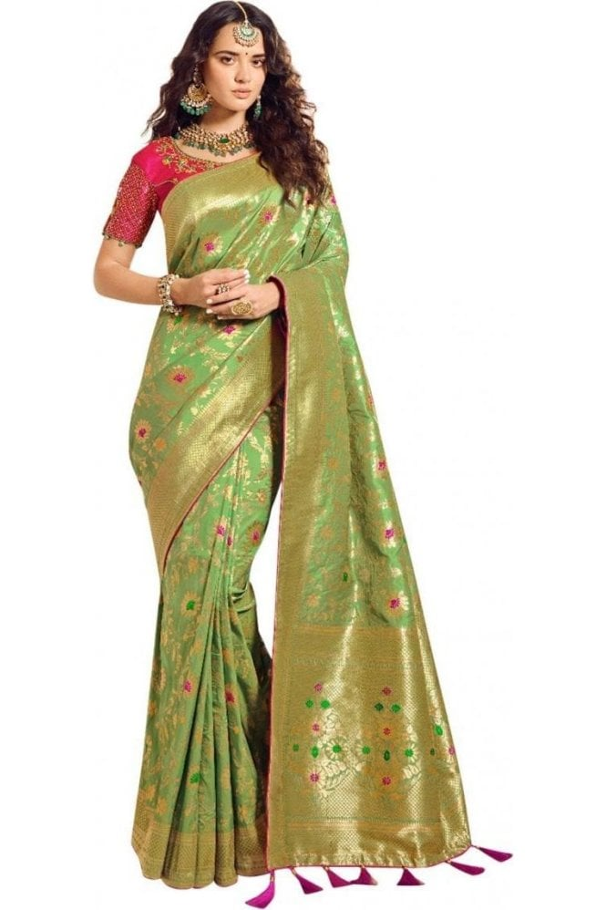 Krishna Sarees FAS20335 Green and Pink Banarasi Silk Party Saree