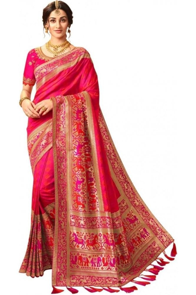 Elegant Pink and Gold Banarasi Silk Saree