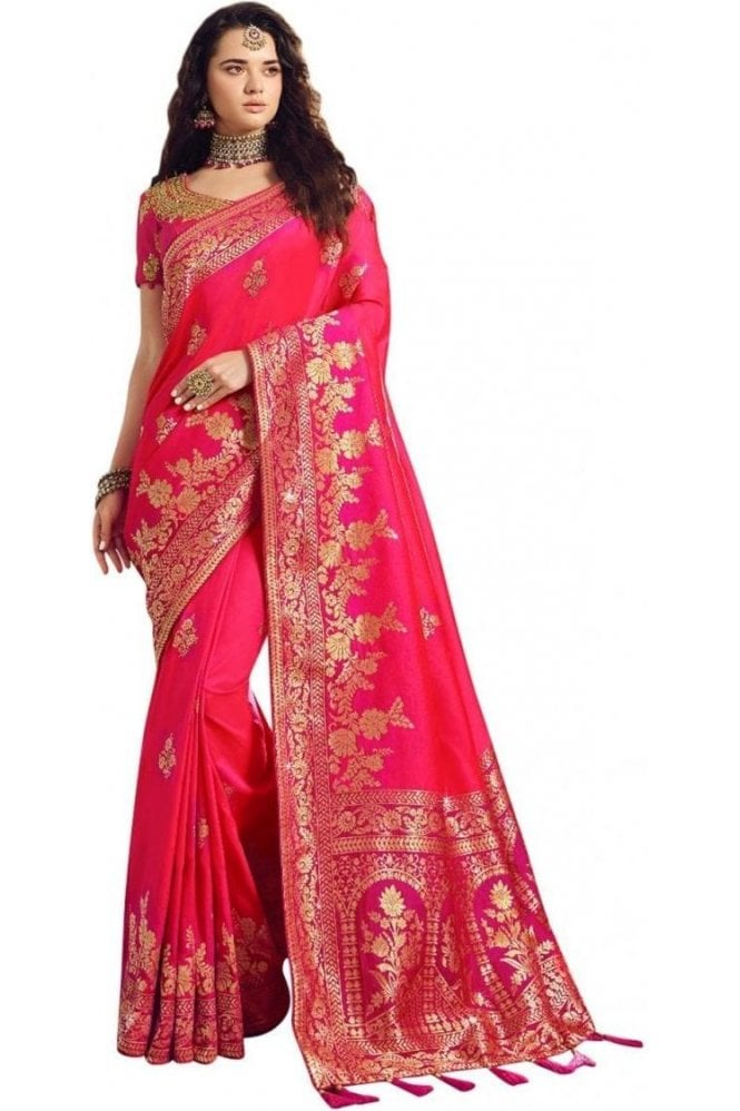 Gorgeous  Pink and Gold Banarasi Silk Saree
