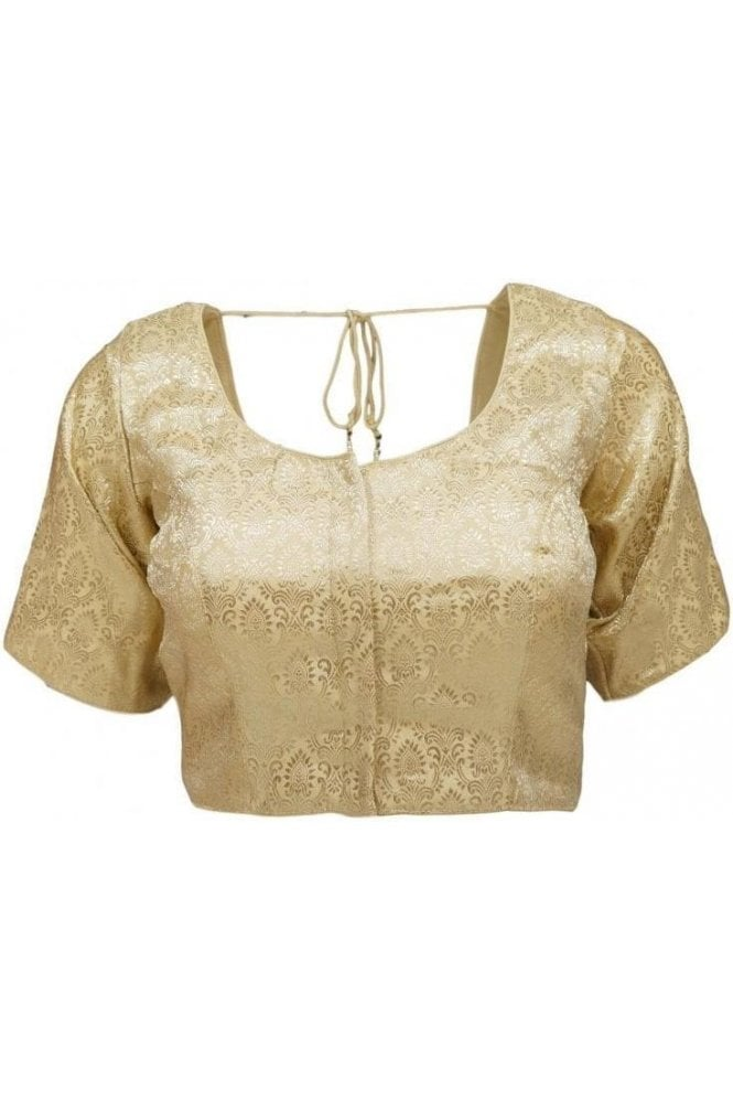 RMB20028 Gold and Antique Gold Ready Made Designer Saree Blouse