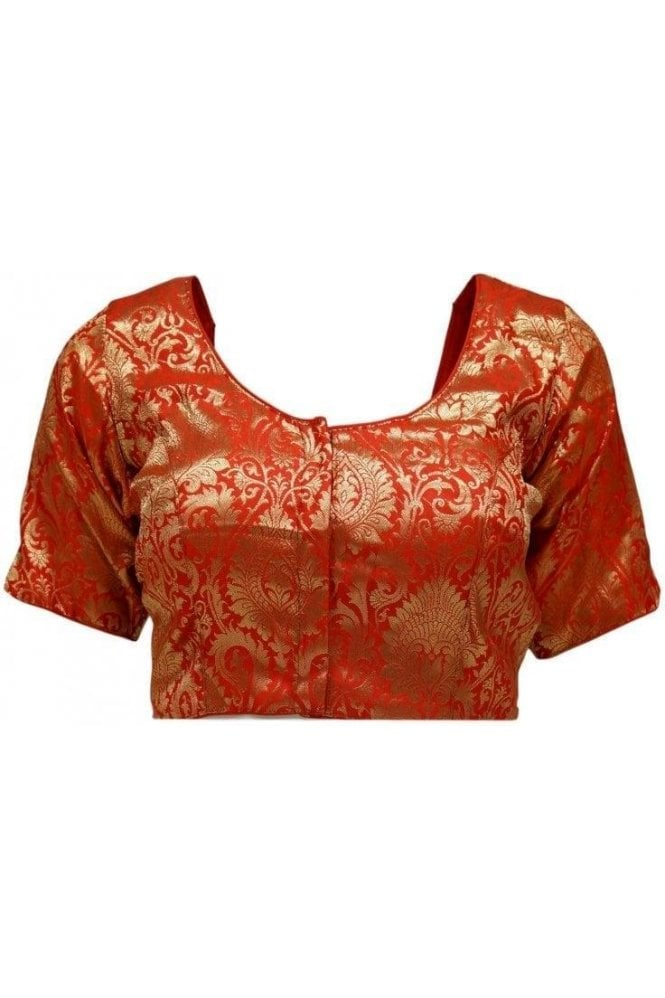 RMB20054 Red and Antique Gold Ready Made Designer Saree Blouse