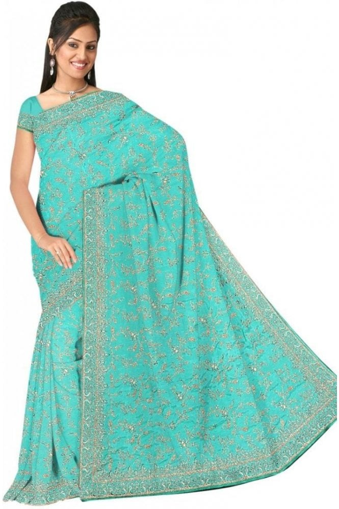 Popular Blue and Sliver Embroidered Saree with Unstitched Designer Blouse