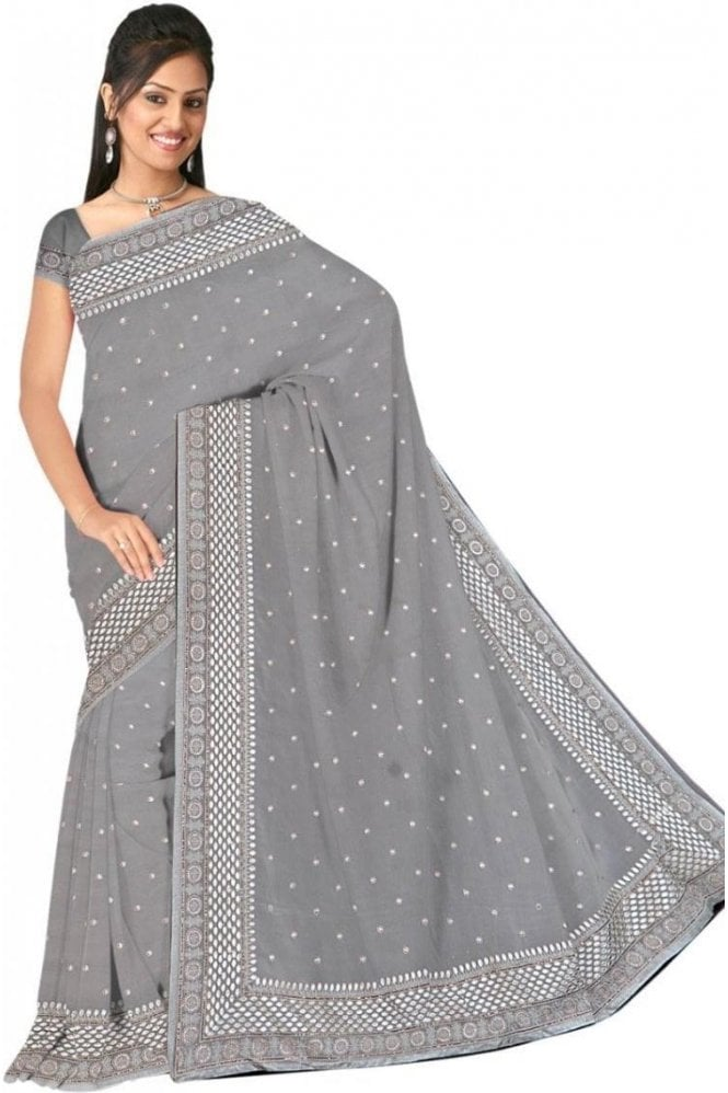 Elegant  Gold and Grey Embroidered Saree with Unstitched Designer Blouse