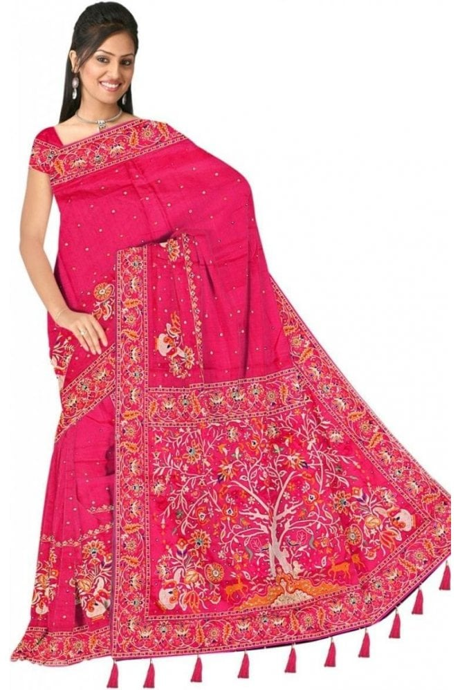 Beautiful  Pink and Gold Embroidered Saree with Unstitched Designer Blouse