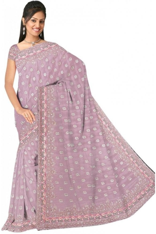 DSS20612 Pink and Gold Faux Chiffon Geogette Saree