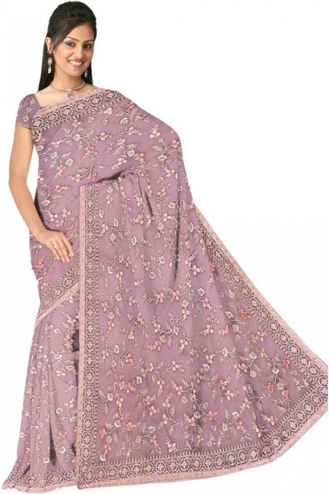 DSS20616 Lilac Purple and Gold Net Saree