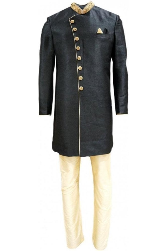 MTS20320 Black and Gold Raw Silk Men's Sherwani Suit