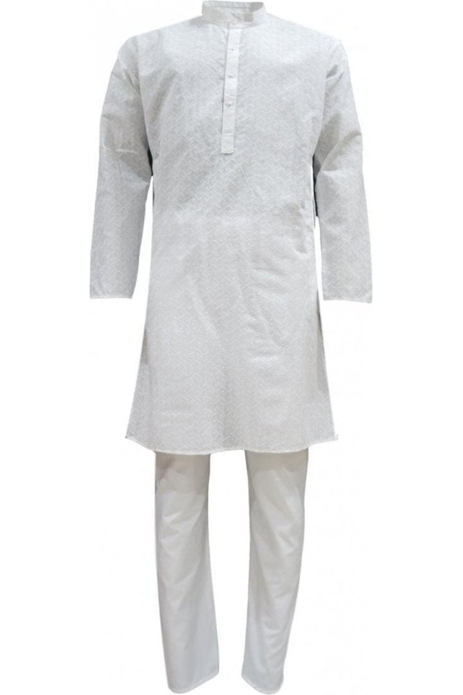 White Men's Lucknowi Chikankari Cotton Kurta Pyjama