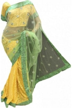 RBS18004 Latest Yellow & Green Party Saree