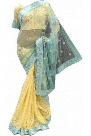 RBS18006 Stylish Sea Green & Yellow Party Saree
