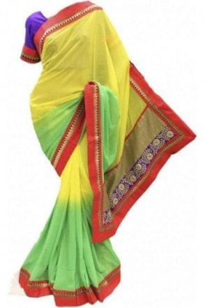 RBS18007 Pleasing Green & Red Party Saree