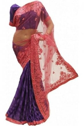 RBS18024 Elegant Coral & Purple Party Saree