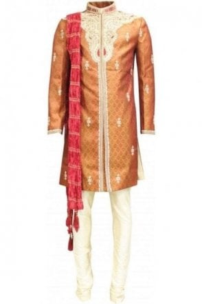 MTS18002 Rust and Maroon Men's Sherwani Suit