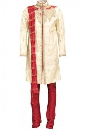 MTS18009 Gold and Maroon Men's Sherwani Suit