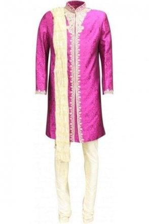 MTS18012 Magenta and Gold Men's Sherwani Suit