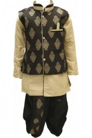 BYK18008BYK2513 Black and Cream 4 Piece Boy's Kurta Pyjama