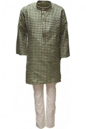 BYK18020BYK2536 Lawn Green and Beige Boy's Kurta Pyjama