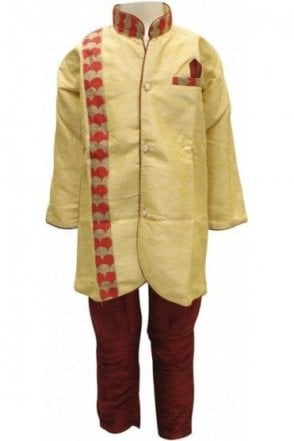 BYK18031BYK2559 Golden and Maroon Boy's Dhoti Pyjama