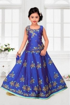 GLC19002 Blue and Gold Girl's Lengha Choli