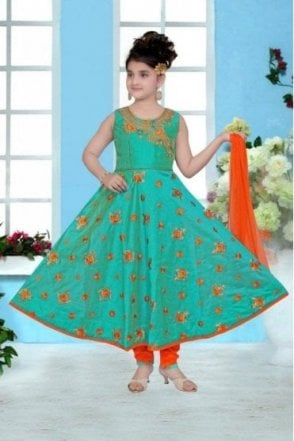 GCS19005 Sea Green and Orange Girl's Churidar Suit