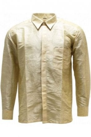 MPS19003 Light Gold Men's Pattu Shirt, Poly Silk Shirt