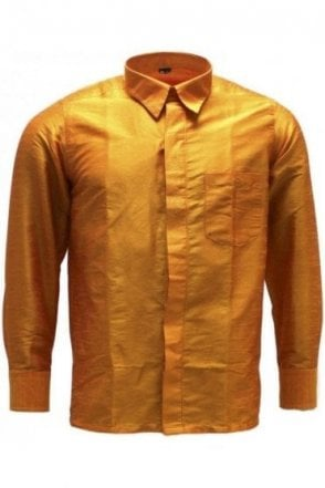MPS19005 Orange Men's Pattu Shirt, Poly Silk Shirt