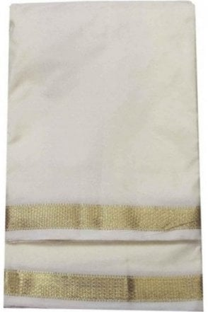 VST2003 Cream Men's Traditional Veshti / Dhoti / Vasti with Angavastram