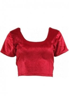 RVB19004 Maroon Ready Made Stretchable Velvet Blouse