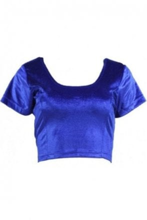 RVB19008 Royal Blue Ready Made Stretchable Velvet Blouse