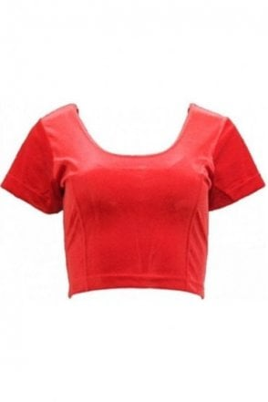 RVB19009 Red Ready Made Stretchable Velvet Blouse