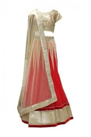 DLC19062 Gorgeous  Red and Gold Designer Lengha