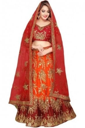 WBL19029 Stunning Maroon and Orange Red Bridal / Party Wear Lengha (Semi- Stitched)