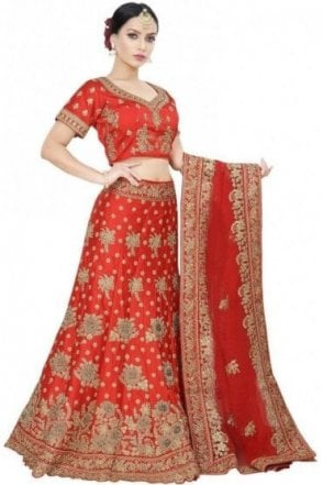 WBL19032 Latest Red and Gold Bridal / Party Wear Lengha (Semi- Stitched)