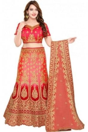 WBL19082 Beautiful  Red and Peach Bridal / Party Wear Lengha (Semi- Stitched)