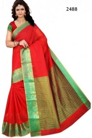 PCS19102 Red and Green Poly Cotton Saree
