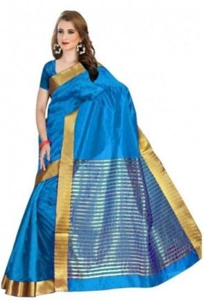 Elegant Blue and Gold Faux Raw Silk Saree with Matching Unstitched Blouse