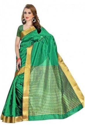 Classic Jade Green and Gold Faux Raw Silk Saree with Matching Unstitched Blouse Piece