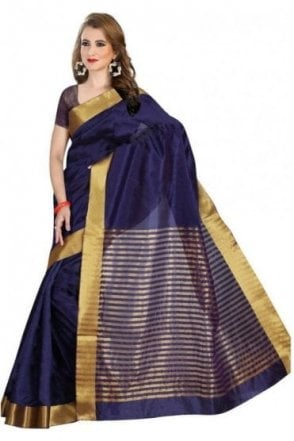 Classy Navy Blue and Gold Faux Raw Silk Saree with Matching Unstitched Blouse Piece