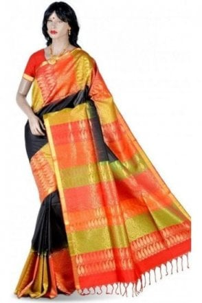 SSS19001 Elegant Black, Mehndi and Red Pure Silk Saree