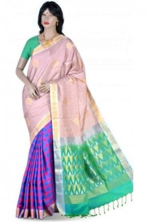 SSS19015 Eye Catching Light Coffee, Blue and Green Pure Silk Saree