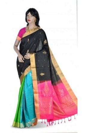 Classy Black, Pink and Green Blue Pure Silk Saree