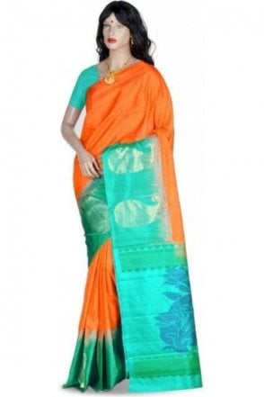 Gorgeous Orange, Gold and Jade Green Pure Silk Saree