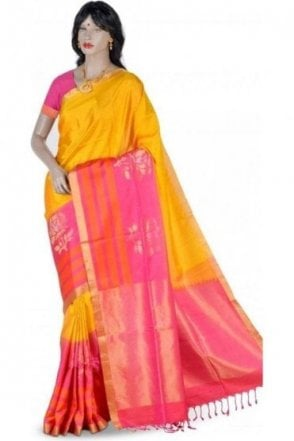 Classic Yellow , Gold and Pink Pure Silk Saree