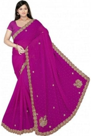DES19043 Stylish Magenta & Gold Party Saree