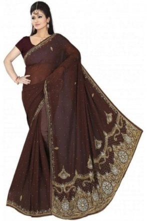DES19045 Eye Catching Brown & Gold Party Saree