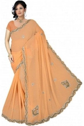 DES19059 Stunning Peach & Silver Party Saree